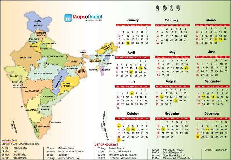 2016 India Holidays & Calendar
