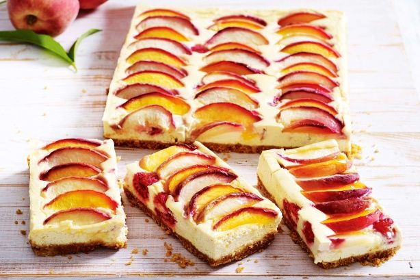 For a burst of flavour try this delicious peach and raspberry cheesecake slice.