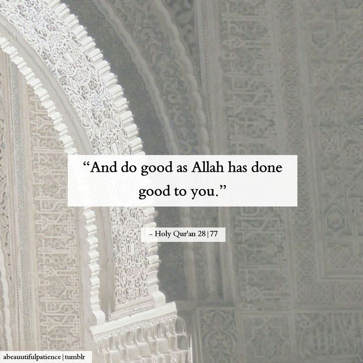 And do good as Allah has done good to you.  - Holy Qur'an 28|77
