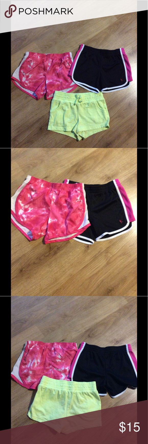 Girls shorts size 6-6x This listing is for all three pairs of shorts ..the top two pink and black ones are danskin now which are 100 percent polyester and the lime green shorts are 60 percent cotton and are 40 percent polyester and are Circo brand..they are all sizes 6-6x Danskin Now Bottoms Shorts