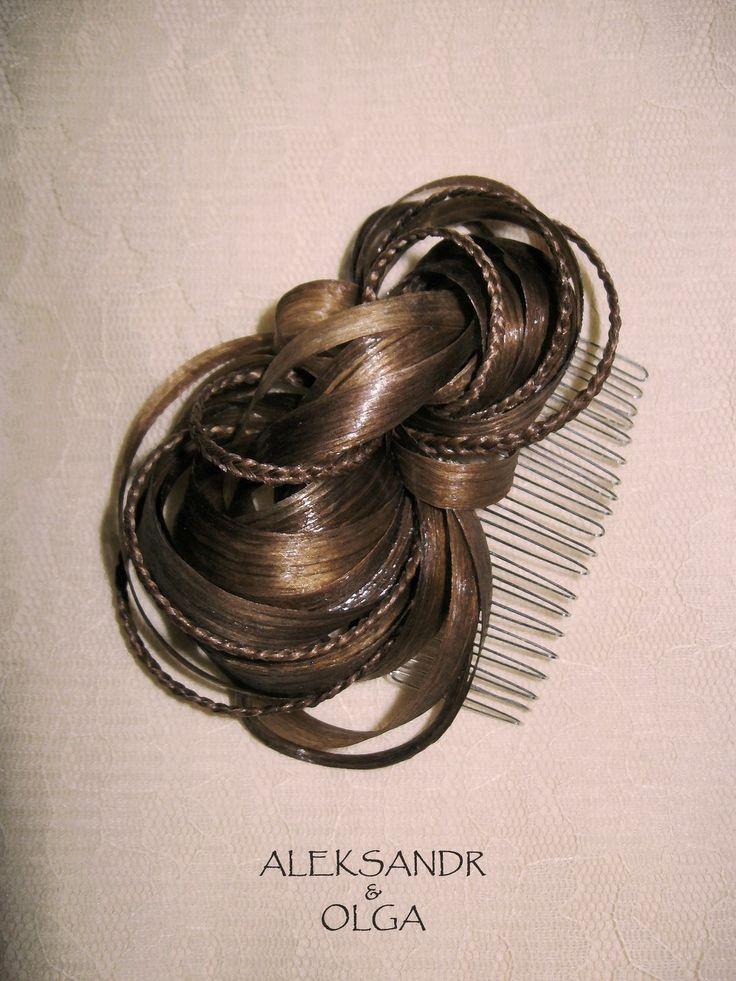 Украшение - ГРЕБЕНЬ для ВОЛОС - постиж, русый, мелирование (из натуральных волос)  http://www.aleksandr-and-olga.ru/ http://www.livemaster.ru/hair-jewellery