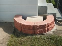 concrete blocks for rainbarrel stand