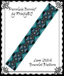 """Porcelain Berries """"Loom"""" Beaded Bracelet Pattern by Lorraine Hickton (Coetzee) aka TrinityDJ at Bead-Patterns.com"""