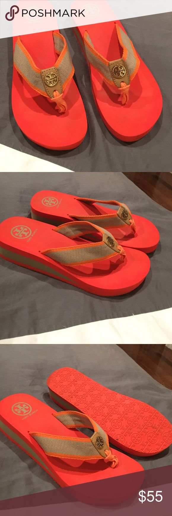 Tory Burch authentic wedge flip flop Authentic Tory Burch wedge flip flop orange and tan sz 10 like new Tory Burch Shoes Sandals
