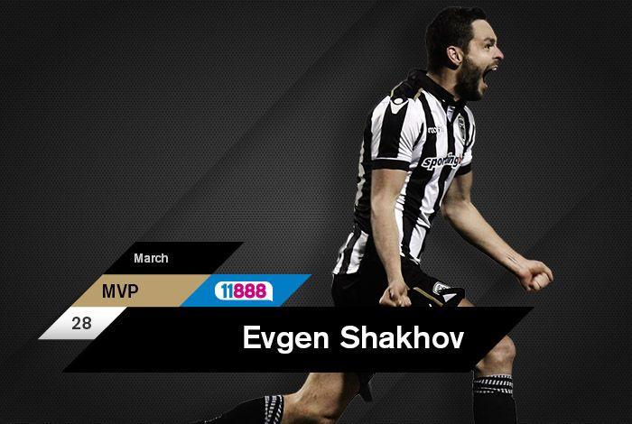 Αθόρυβος, αλλά ουσιαστικός. Ένα σημαντικό εργαλείο για τον προπονητή του. Ο Εβγέν Σάκχοφ κέρδισε και την εκτίμηση του κοινού και ήταν ο μεγάλος νικητής στην ψηφοφορία για την ανάδειξη του 11888 MVP Μαρτίου μέσω του paokfc.gr και του PAOK FC Official App.
