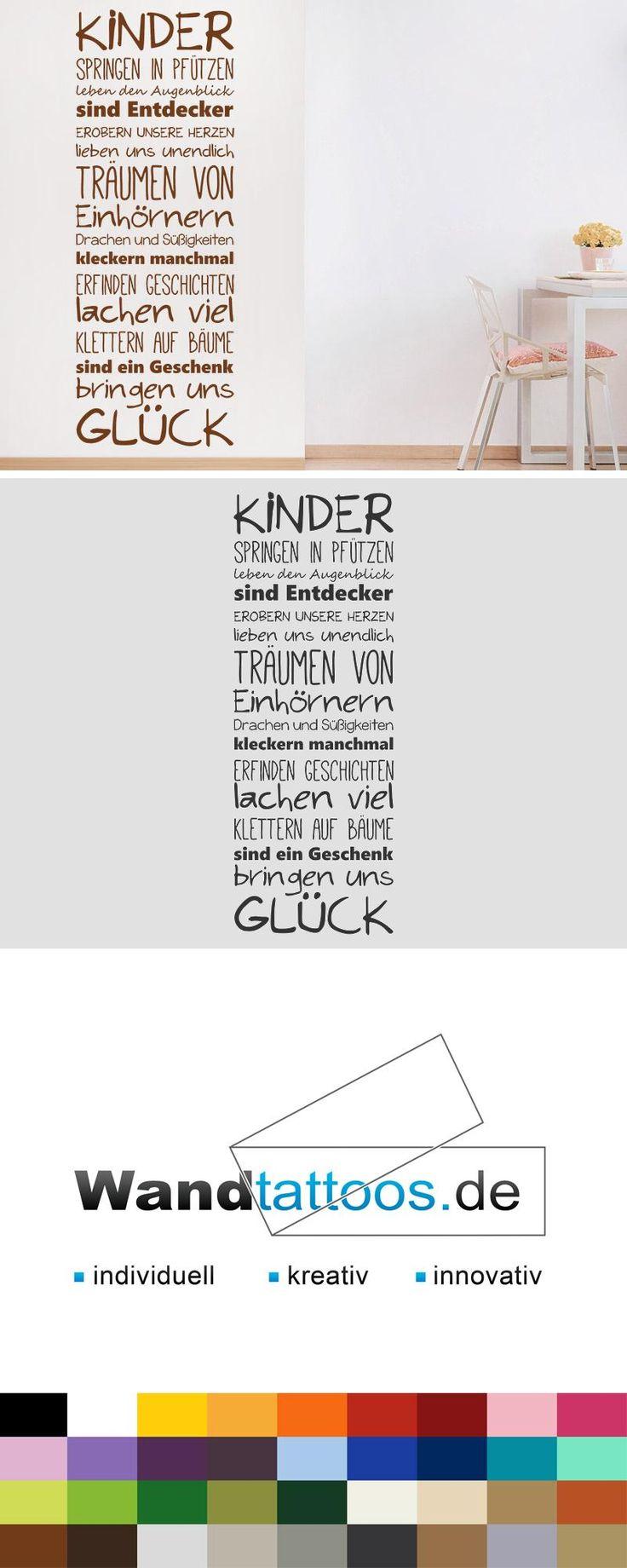Wandtattoo Kinderglück als Idee zur individuellen Wandgestaltung. Einfach Lieblingsfarbe und Größe auswählen. Weitere kreative Anregungen von Wandtattoos.de hier entdecken!