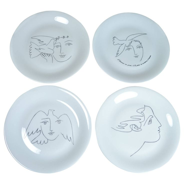 Set of Four Picasso Designed Plates for Limoges | From a unique collection of antique and modern dinner plates at https://www.1stdibs.com/furniture/dining-entertaining/dinner-plates/