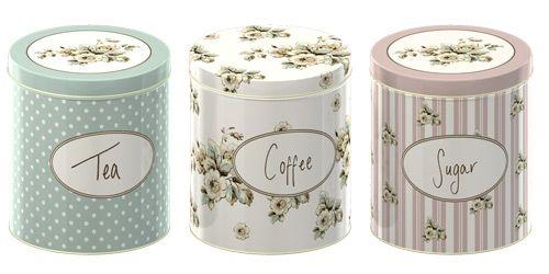KOMPLET: 3 PUSZKI KUCHENNE - POJEMNIKI NA CUKIER, KAWĘ I HERBATĘ - Katie Alice Cottage Flower - SHABBY CHIC TIN2466 :: Sklep - Przestrzen.com.pl