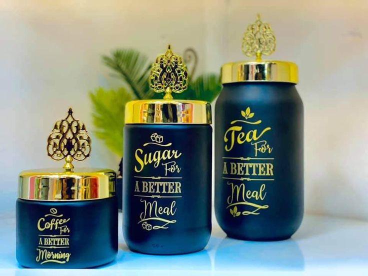 بيت العائلة On Instagram سيت شكردان زجاج السعر ١٢٠٠٠ دينار يتوفر توصيل لكافة المحافظات بيت العائلة تسوق تسوق اونلاين ب In 2021 Decorative Jars Drink Sleeves Jar