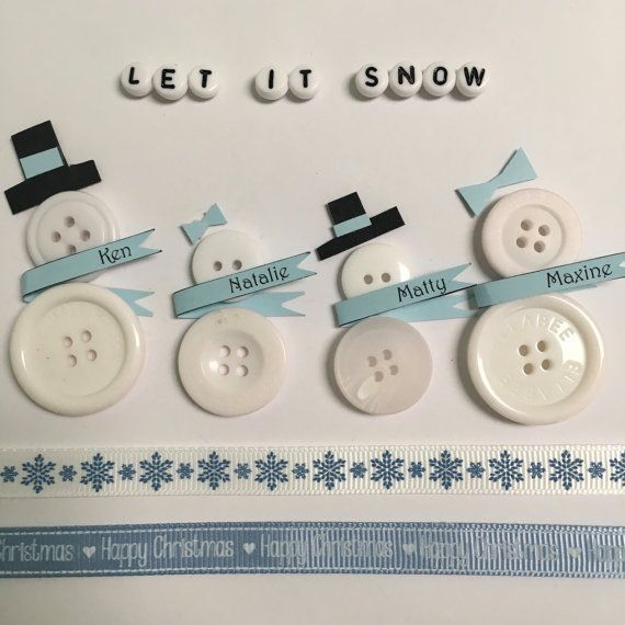Handmade personalised snowman family button art // button picture // home decor // wall art  ------------------------------------------------------------------  A stunning button picture featuring a family of snowmen wearing personalised scarves, carefully created by hand using a variety