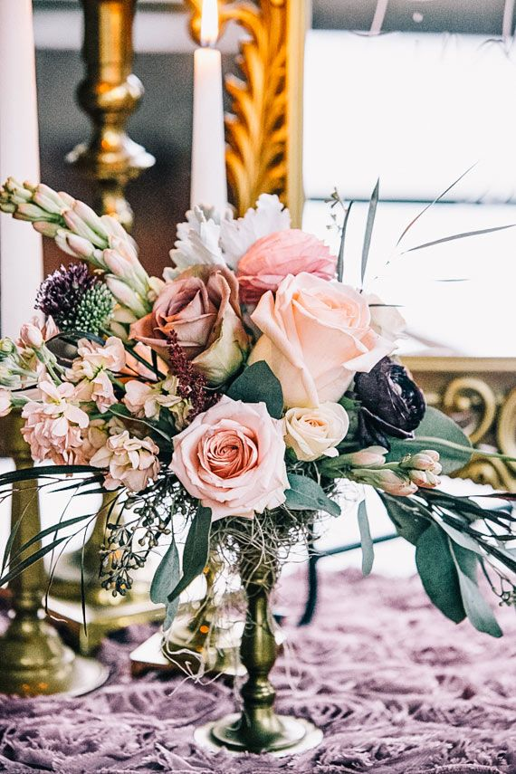 Elegant vintage wedding inspiration | Venue at Monroe Cotton Mills | Photo by VUE Photography | Read more - http://www.100layercake.com/blog/?p=67116