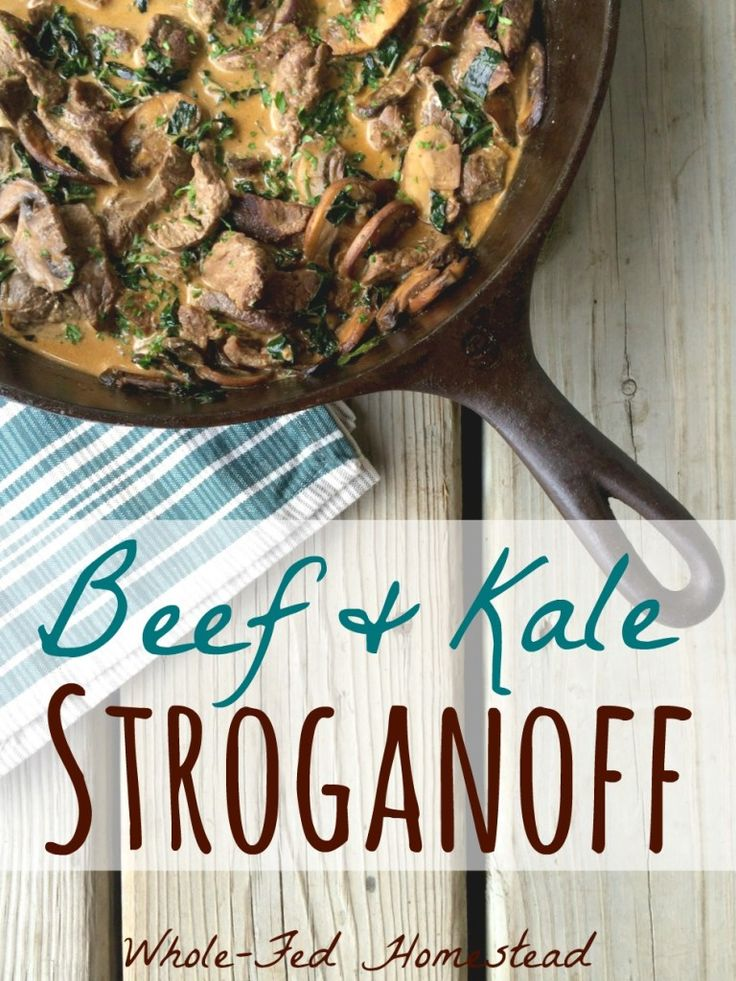 Beef and Kale Stroganoff: gluten-free, grain-free and easily dairy free and Paleo! Quick and easy dinner. Also great with venison or other game meat. | Whole-Fed Homestead