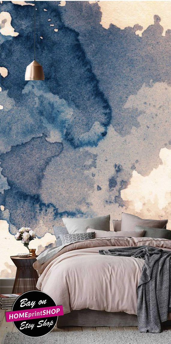Ink texture - splash wall art - dark blue wallpaper - wall art decor - Removable Self Adhesive peel and stick wallpaper / wall murall  #10