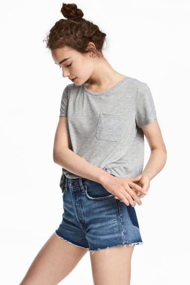 T-shirt z kieszonką na piersi - Szary melanż - ONA | H&M PL 1