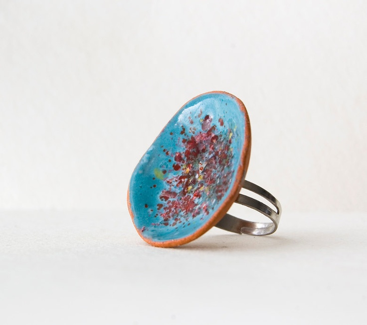 Turquoise/Ring,Ceramic/Ring, Women/Ring,Ceramic/Jewelry,Statement/jewelry, Holiday/Gift,Free/Shipping. $24.00, via Etsy.