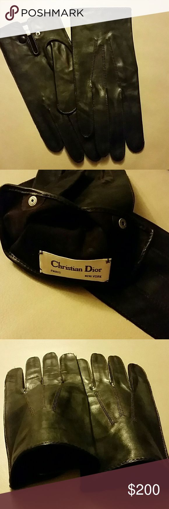 Christian Dior Men's Brown Leather Gloves L New vintage, never worn, unlined driving gloves, leather covered snap closure, made in Hungary. Beautiful condition. See last pic for tiny pin holes. Firm unless bundled with other high priced item. Christian Dior Accessories Gloves