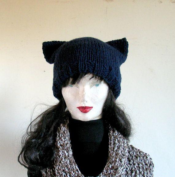 Women Hat Knit Hat Cat Ears Hat Cat Beanie Chunky by recyclingroom, $28.00