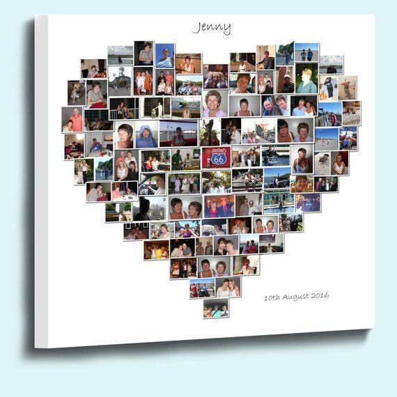 Heart Shape Photo Collage Box Framed