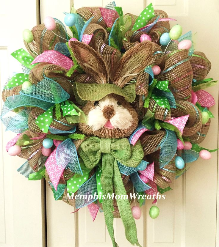 Easter Bunny Deco Mesh Wreath - Deco Mesh Wreath - Easter Wreath by MemphisMomWreaths on Etsy https://www.etsy.com/listing/223405747/easter-bunny-deco-mesh-wreath-deco-mesh