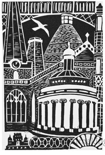 """Elements of Bridgwater"" linocut by Jackie Curtis http://www.jcurtisart.com/ Tags: Linocut, Cut, Print, Linoleum, Lino, Carving, Block, Woodcut, Helen Elstone, Buildings, Town, Architecture."