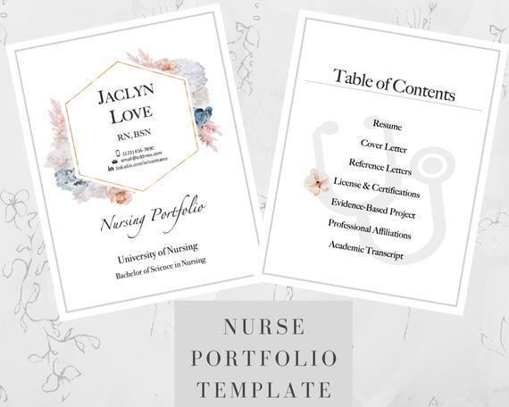 Nursing Portfolio Template Pastel Flower Registered Nurse Etsy In 2021 Nursing Portfolio Portfolio Templates Nurse