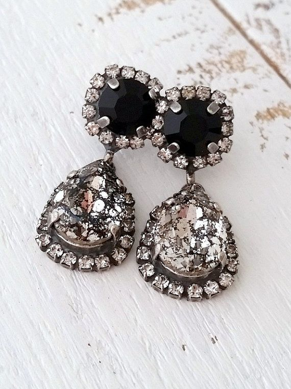 Black Earrings Chandelier Dangle Bridal Bridesmaids Gift Swarovski Crystal Earring Oxidized Silver Eldor Tina
