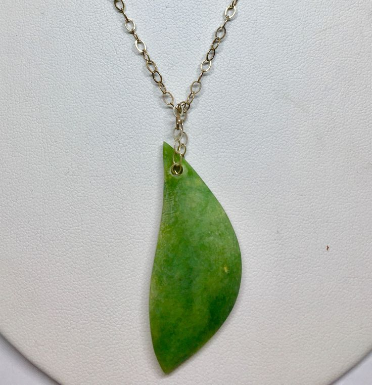 Handmade NZ greenstone leaf shaped pendant I made on a Sterling silver chain