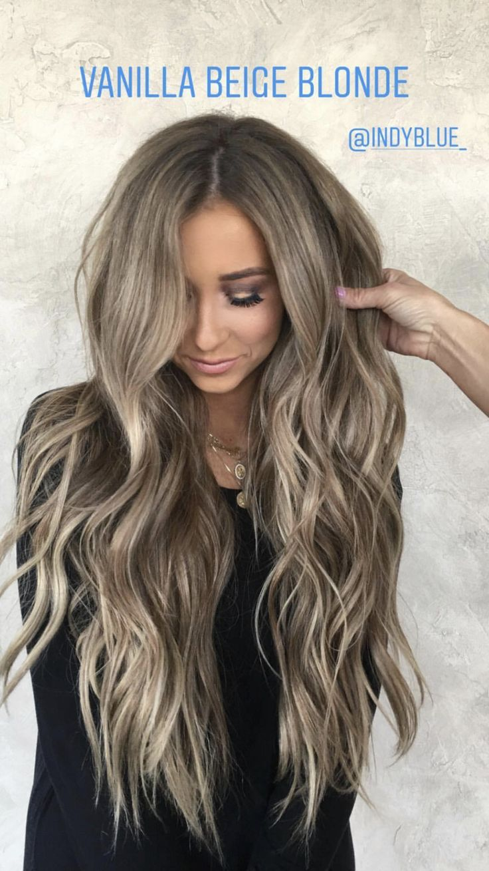 Indy Blue vanilla beige blonde hair color hairstyles beachy waves @indyblue_ @ha…