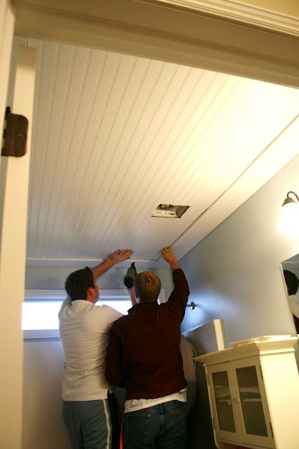 DIY: Bead board ceiling - to cover up those ugly textured ceilings or just to add a new look.