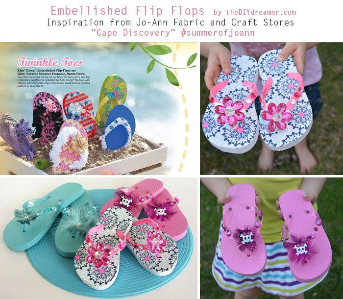 Embellished Flip Flops Tutorial - theDIYdreamer.com #summerofjoann