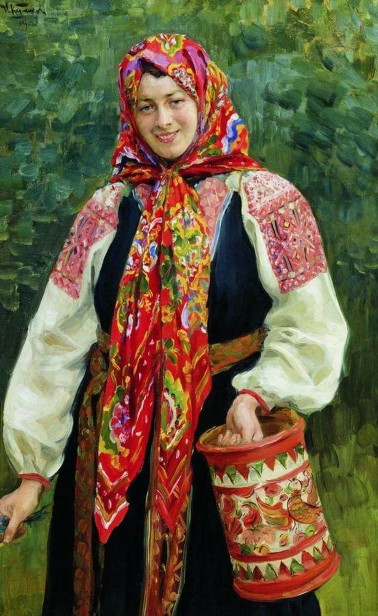 Russian costume in painting. I.S.Kulikov. Girl with a Wooden Box. 1912. #art #painting #Russia #Russian