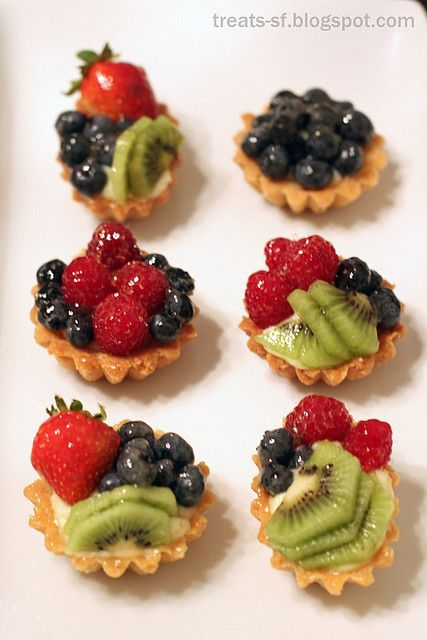Mini fruit tarts. The Sweet Caillat Crust- 6 tablespoons unsalted butter - 1 tablespoon vegetable oil - 3 tablespoons water  -- Pinch salt - 1 1/2 cups all-purpose flour-  4 tablespoons sugar.  Instructions: Preheat over to 400°.   http://www.sfgate.com/food/article/Can-t-fail-Parisian-piecrust-3288517.php