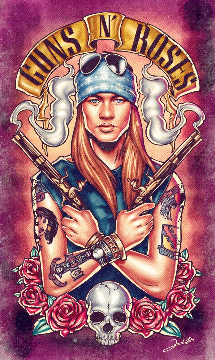 Ilustração de uma das maiores bandas de hard rock de todos os tempos, o Guns N'Roses. Na arte vemos o vocalista Axl Rose cercado de armas e rosas, é claro.