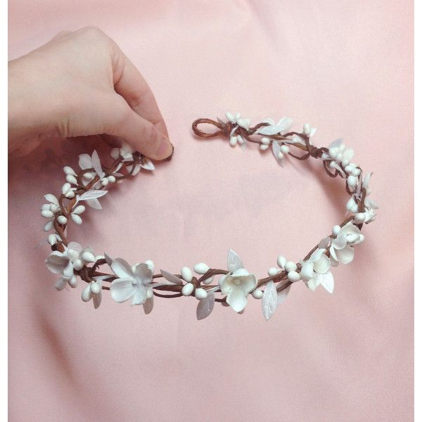 first communion flower crown, floral headpiece, floral crown,... ($55) ❤ liked on Polyvore featuring accessories, hair accessories, floral headband, floral crown headband, white flower crown, flower garland and white headband