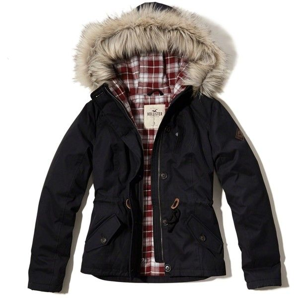 Hollister Flannel Lined Anorak ($100) ❤ liked on Polyvore featuring outerwear, jackets, hollister, black, wind resistant jacket, hooded anorak jacket, anorak coat, logo jackets and cinch jackets