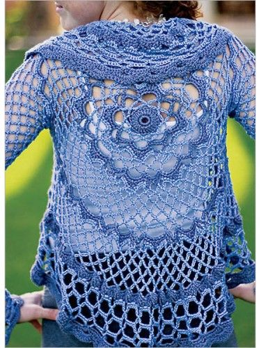 Lacy Leaf Cocoon   This crochet sweater is based on the popular cocoon pattern featuring a long back that curves under the arms and is sh...