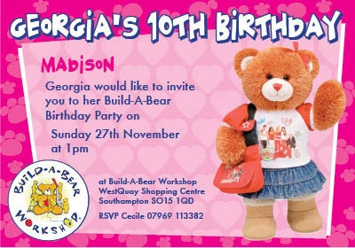 Build A Bear Personalised Party Invitations 12 per Pack | eBay