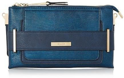 Womens petrol blue double pouch clutch bag from Dune - £59 at ClothingByColour.com