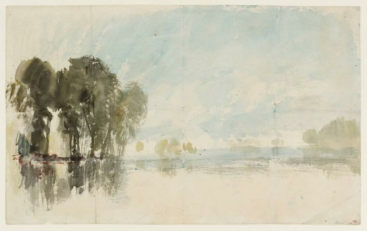 River Scene, with Trees, 1820-30. Watercolour on paper    J. M. W Turner