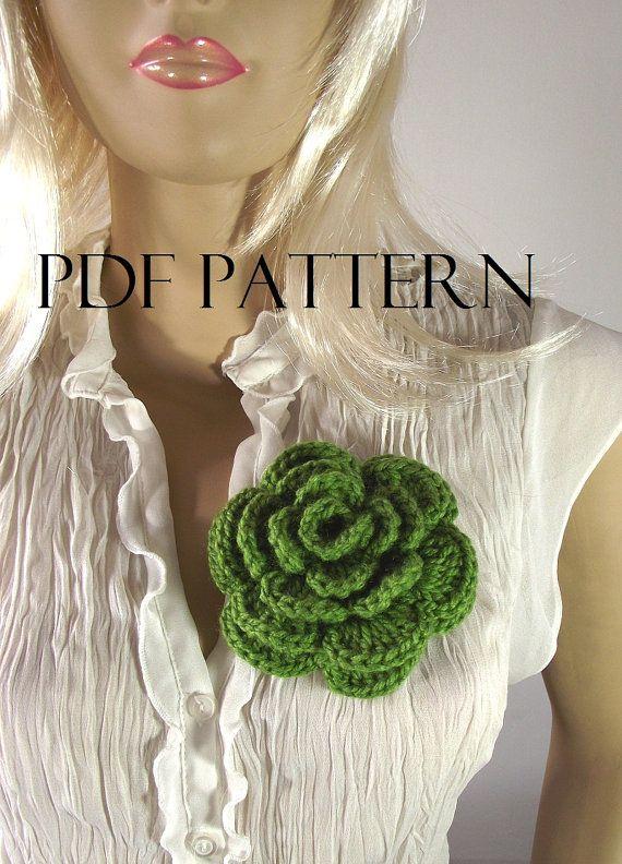CROCHET FLOWER PATTERN Pin Embellishment Brooch by LiliaCraftParty