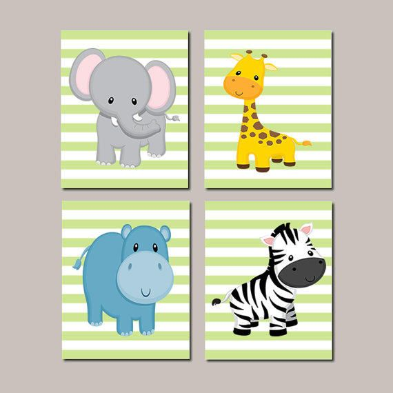 JUNGLE Animals Nursery Wall Art ELEPHANT Giraffe Zebra Hippo Zoo Animals Baby Boy Decor Jungle Bedding Baby Shower Set of from LovelyFaceDesigns on Etsy.