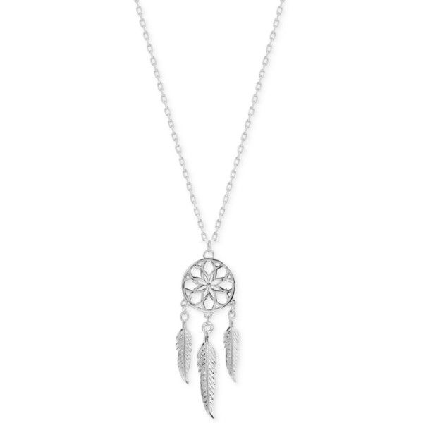 Lucky Brand Silver-Plated Dreamcatcher Pendant Necklace ($45) ❤ liked on Polyvore featuring jewelry, necklaces, accessories, silver, lucky brand jewelry, pendant necklace, silver tone necklace, silver plated necklace and silver plating jewelry