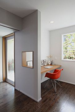 contemporary home office @Sancha Stevenson think this would be cool in the space at the bottom of the stairs - future homework space