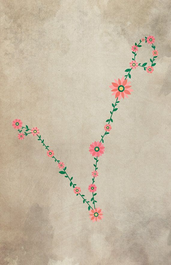 floral Pisces constellation:
