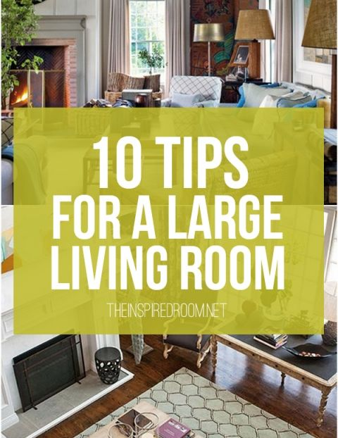 Divide the space: ceiling beams, rugs, or furniture placement; Large furniture will anchor a room so smaller pieces can be tucked, otherwise: clutter. If you don't have a coffee table big enough, use two matching ottomans side by side; Art wall: go bold; For tall ceilings, opt for taller furniture; Add lamps to avoid dark spaces; Paint the ceiling a shade or two darker than your walls = coziness; Repetition: it unifies your style. Repeat fabric patterns or colors on chairs or pillows.