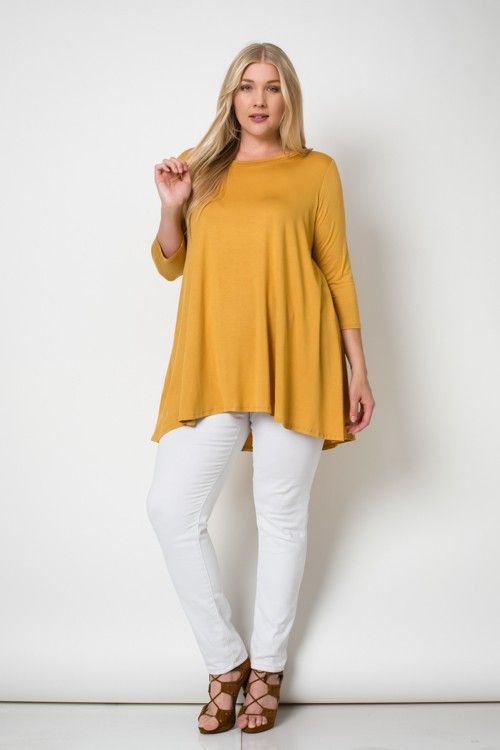3/4 Sleeves A-Line Tunic Plus Size Top 95%RAYON 5%SPAN                                                                                                                                                                                 More