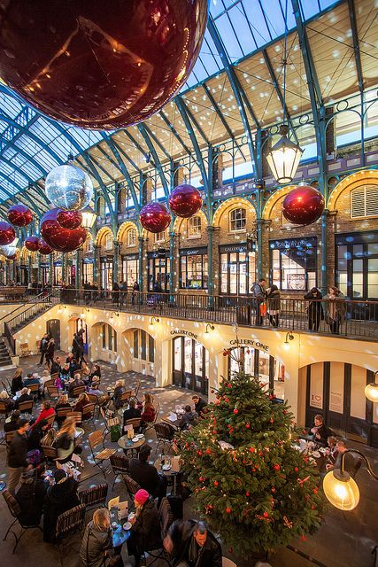 Covent Gardens Christmas, London-- During lunch this was my favorite daily shopping location.