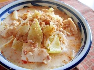 キャベツともやしたっぷり!簡単坦々風豆乳スープ♪ レシピ・作り方 by ちえ'sキッチン|楽天レシピ