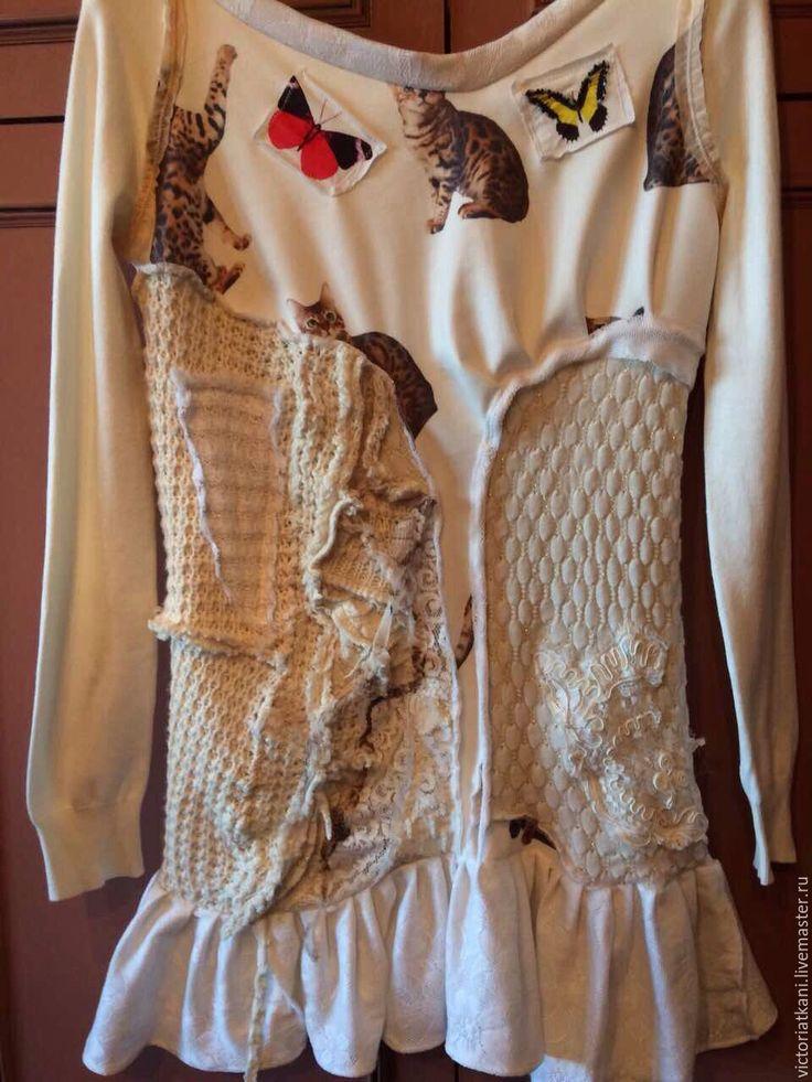 """Купить Платье бохо-шик """"Мяу"""" - бежевый, абстрактный, платье купить, платье в стиле бохо"""