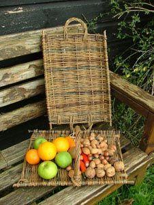 Flat tray or gathering basket, with handle variations Norfolk Basket Co